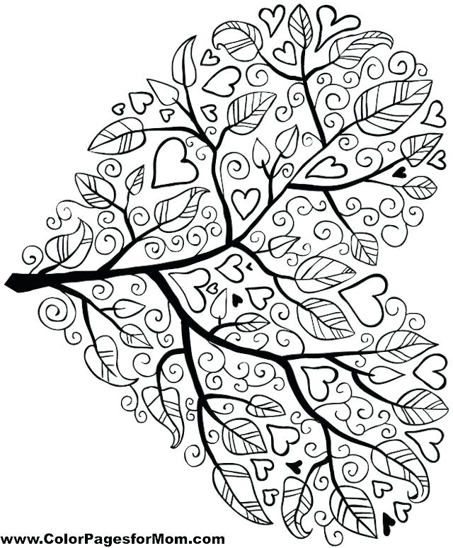 640x774 Coloring Pages With Hearts Tree Coloring Page Coloring Pages