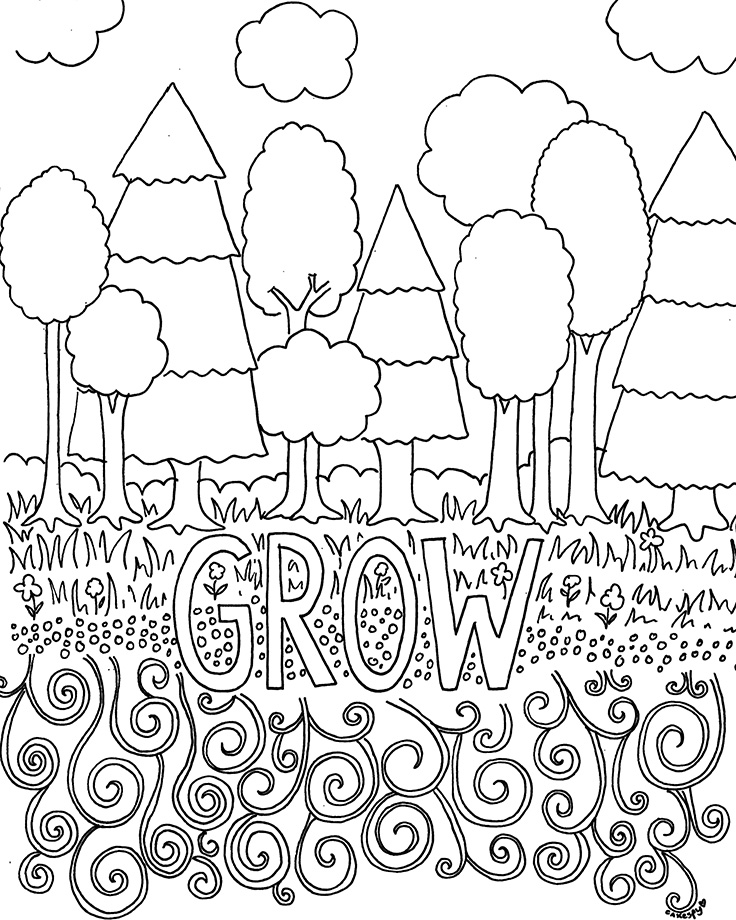 736x920 Free Coloring Pages For Adults Trees Flowers
