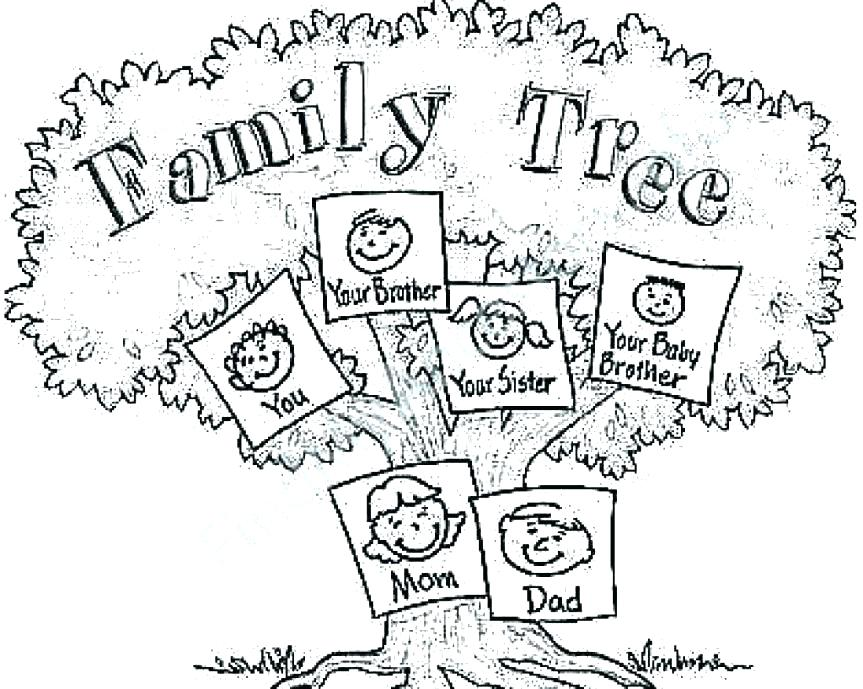 863x689 Family Tree Coloring Page Family Tree Coloring Page For Kids