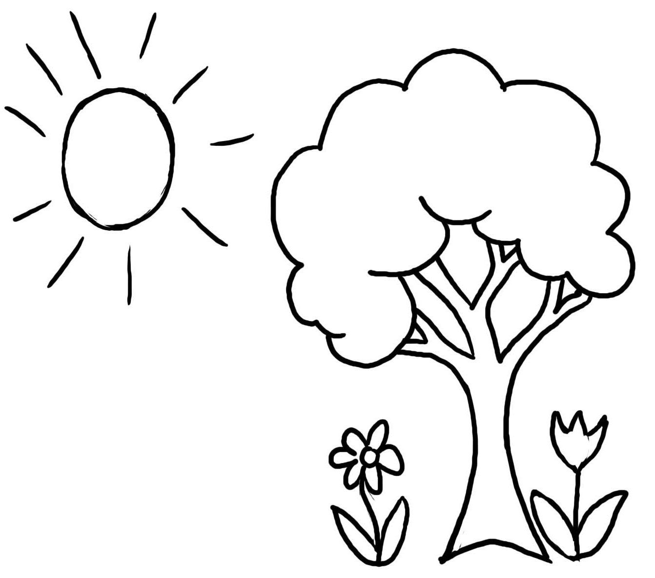 1342x1185 Pictures Welcome Spring Tree Coloring Pages For Kids Coloring