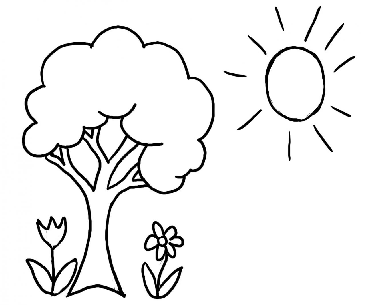 1280x1068 Spring Tree Flowers And Sun Free Coloring Page Kids, Nature