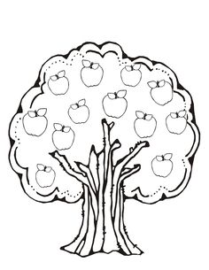 236x305 Nature Apple Tree Coloring Page For Kids, Printable Free