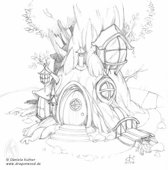 586x591 Fairy Tree House Coloring Pages Google Search Fairy Tree