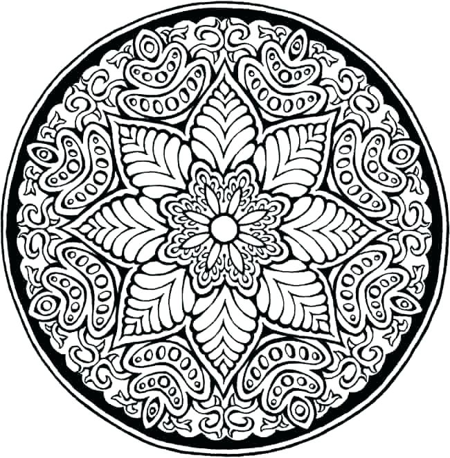 650x662 Hard Coloring Page Hard Coloring Pages Of Flowers Mandala Coloring