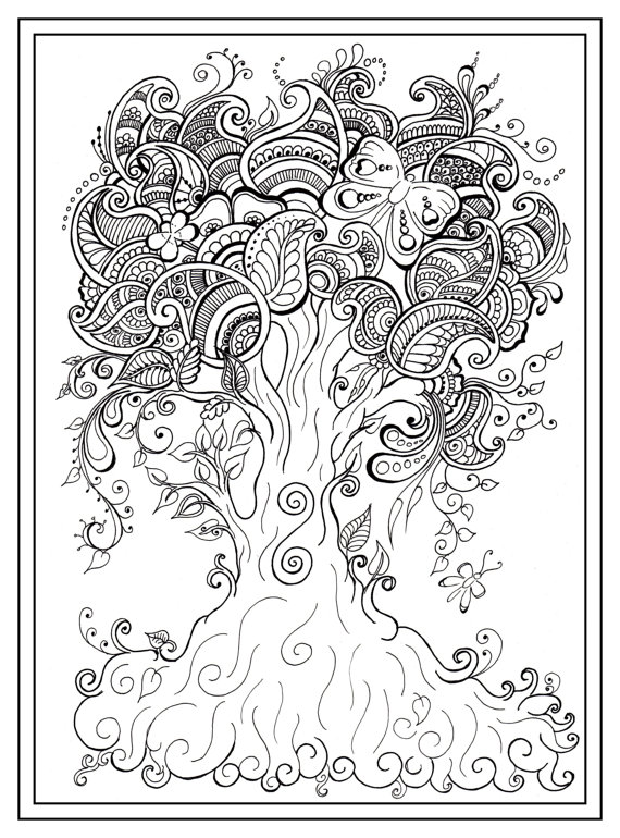 570x770 Adult Colouring In Pdf Download Tree Dragonfly Henna Zen