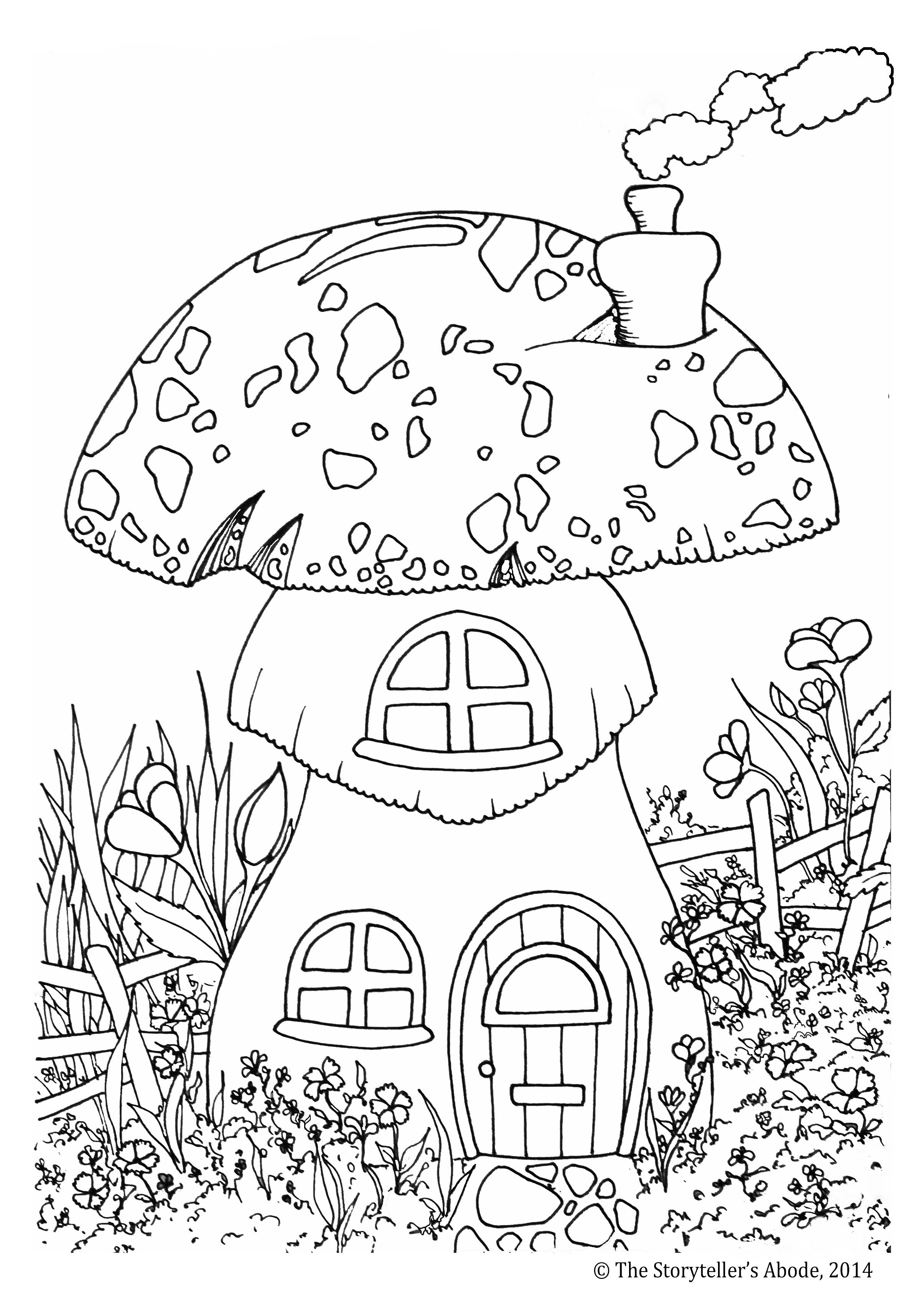 2409x3402 Tree Trunk Fairy House Coloring Pages Gallery Coloring For Kids