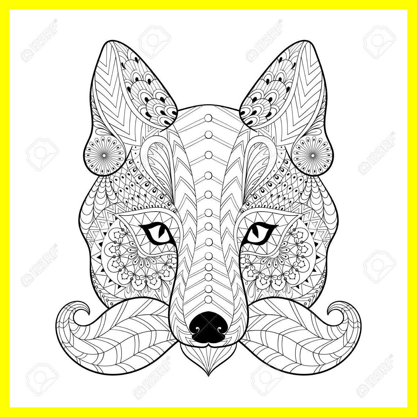 1362x1362 Fascinating Hand Drawn Tribal Fox Face For Adult Anti Stress