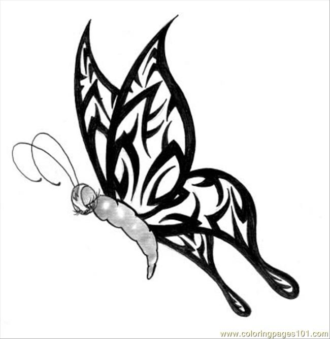 650x668 Tribal Butterfly Coloring Page