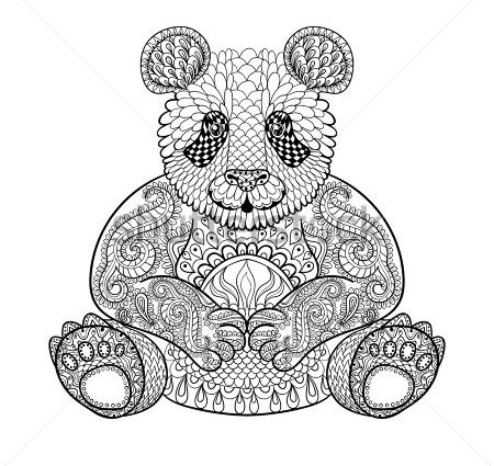 450x425 Abstract Animal Coloring Pages Hand Drawn Tribal Panda Animal