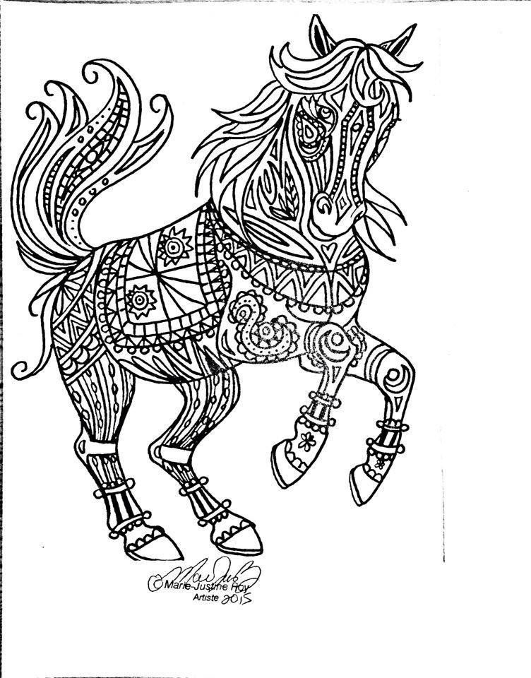 752x960 Free Coloring Page Tribal Horse Art