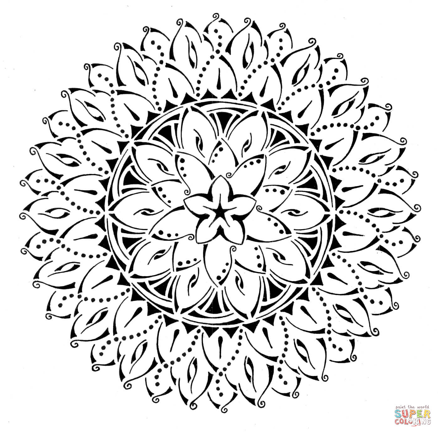 1396x1381 Inspiration Bargain Tribal Coloring Pages Floral Mandala Page Free