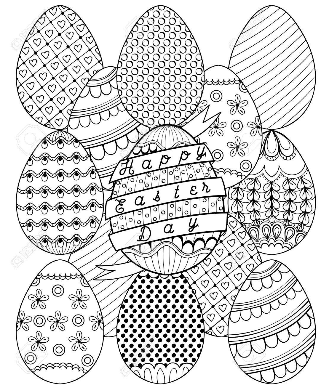 1083x1300 Hand Drawn Artistic Easter Eggs Pattern For Adult