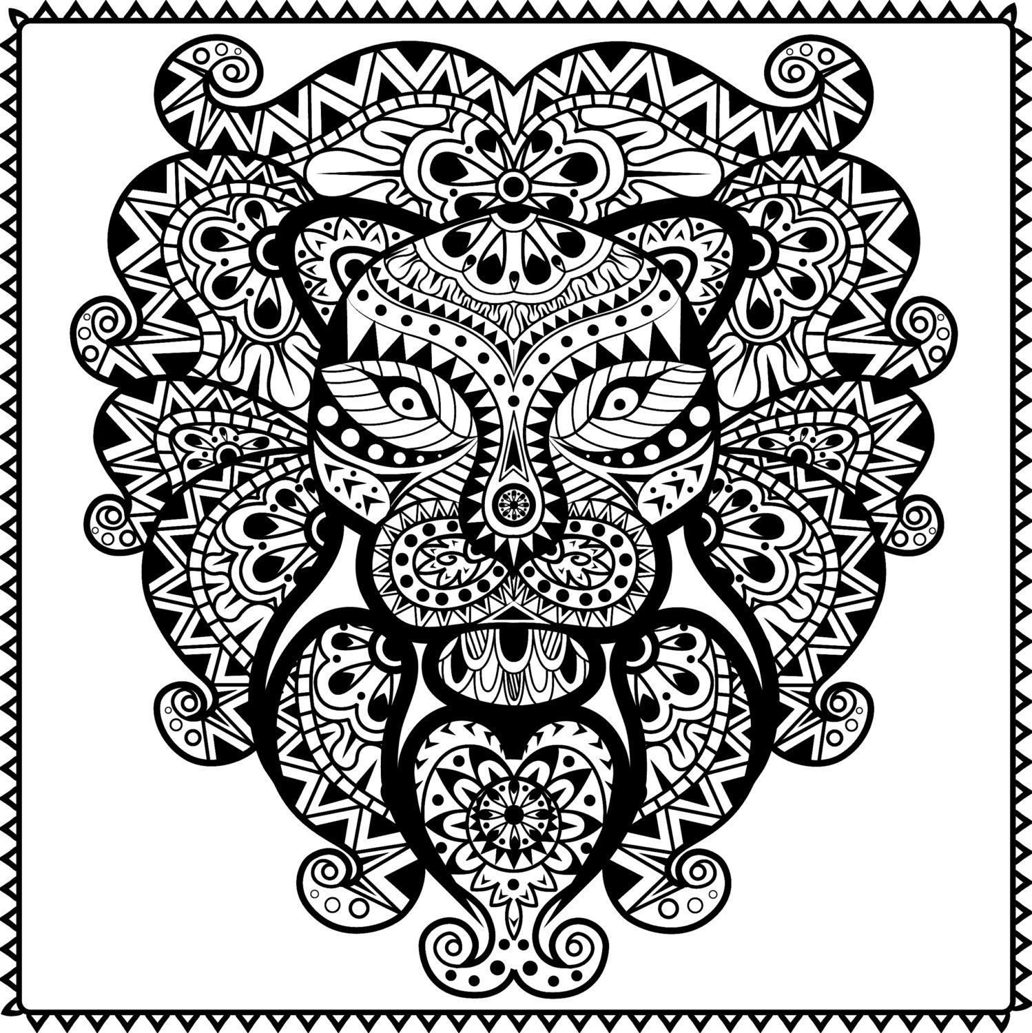 1498x1500 Shocking Abstract Tribal Lion Coloring Page For Adults Instant