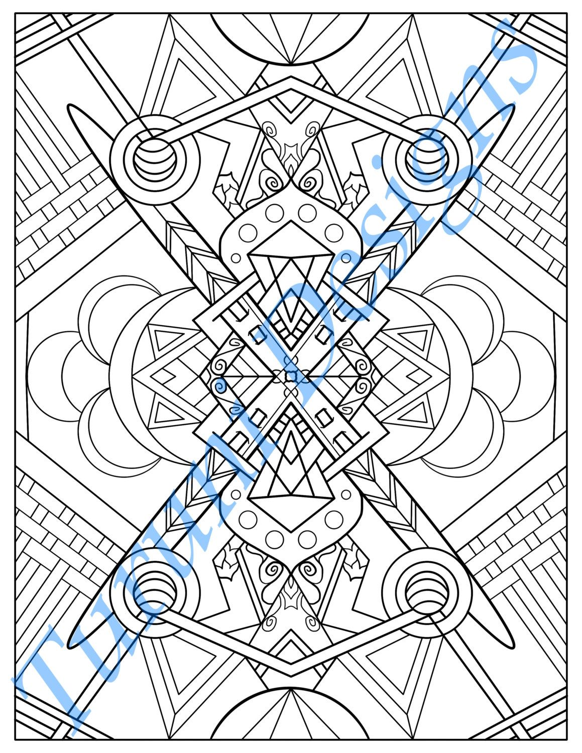 1159x1500 Tribal Inspired Printable Adult Coloring Page, Basketweave