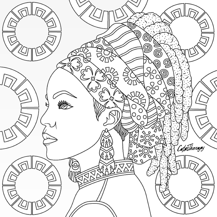 850x850 Tribal Queen Coloring Page Coloring Pages For Adults