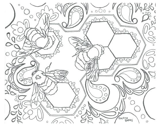 570x438 Coloring Pages Of Bees Bohemian Adult Coloring Page Bees Tribal