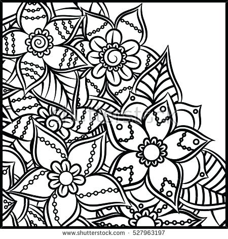 450x470 Pattern Coloring Book Leaves Ethnic Floral Plus Pattern