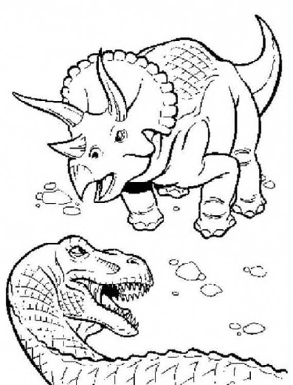 600x789 T Rex Fighting With Triceratops Coloring Page Color Luna