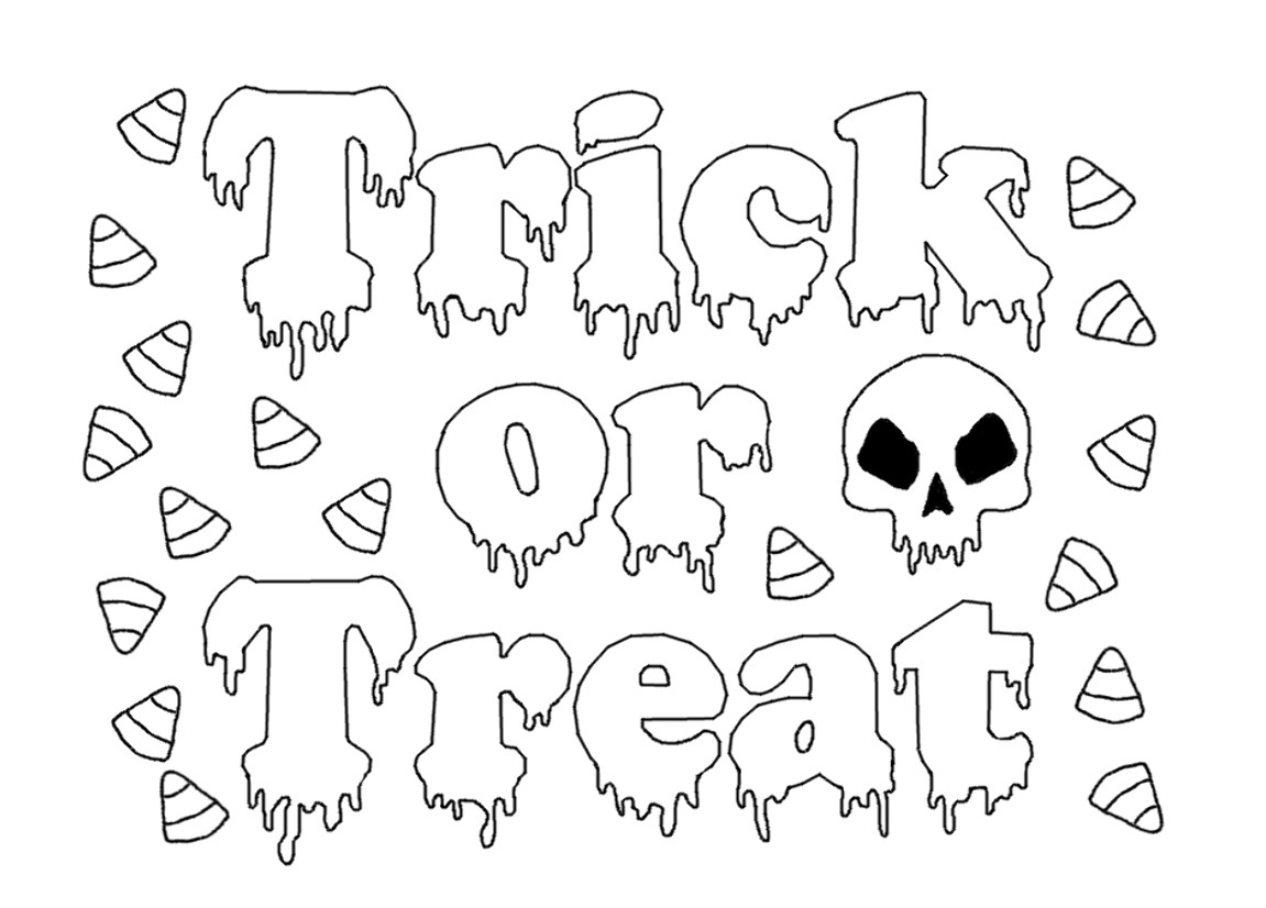1151x826 Halloween Trick Or Treat Coloring Pages Art Colors For Kids Draw