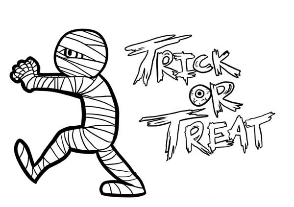 600x423 Mummy Trick Or Treat Free Coloring Page