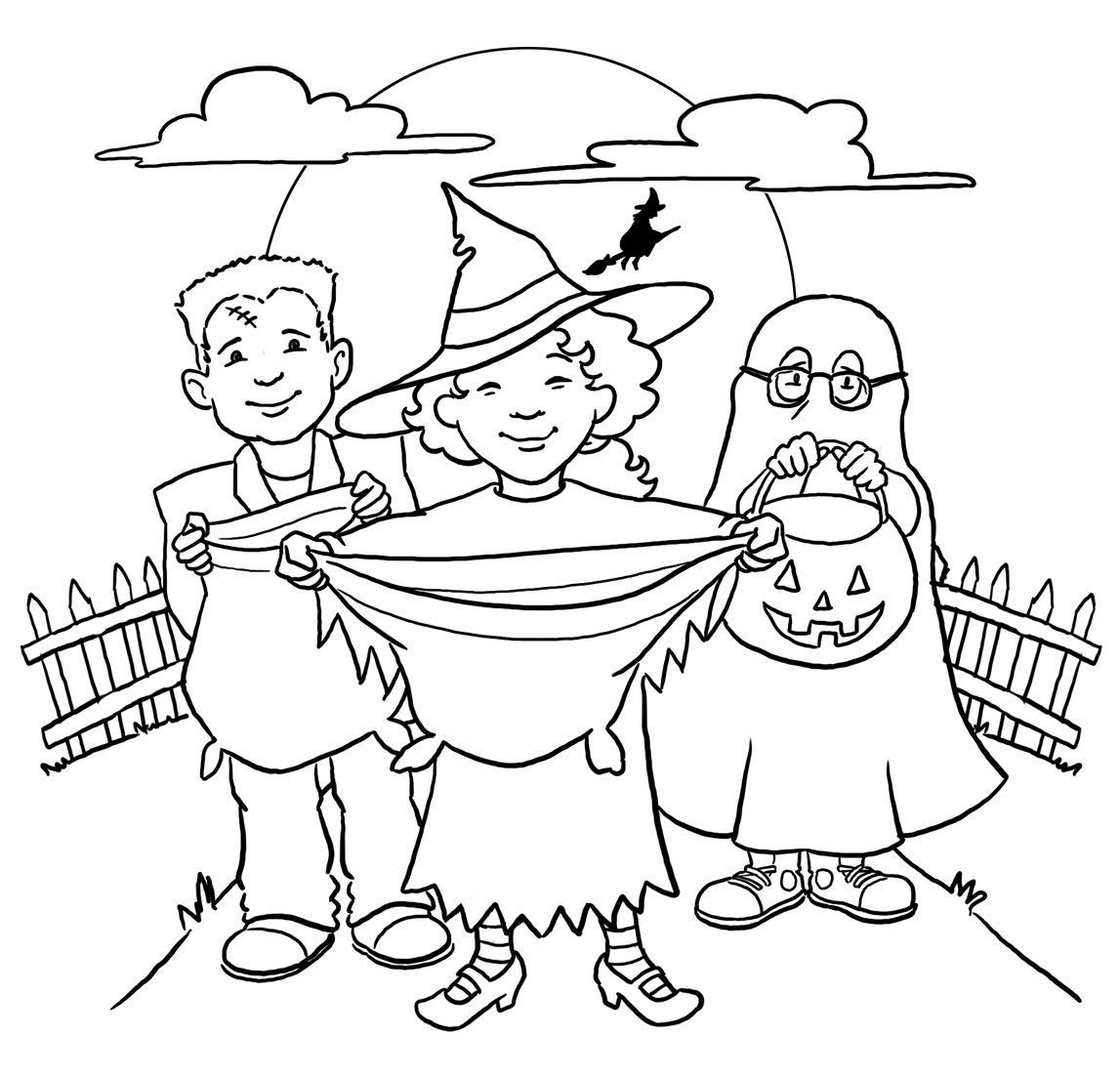 1147x1103 Trick Or Treat Coloring Pages, Halloween Trick Treating Printables