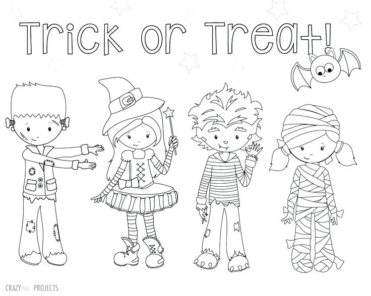 736x588 Trick Or Treat Coloring Pages Cute Free Printable Coloring Pages