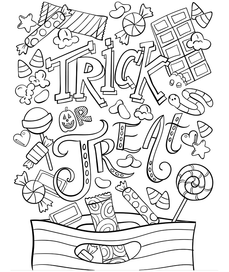 768x912 Trick Or Treat Coloring Doodle