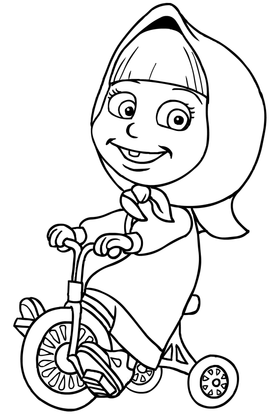 556x850 Masha On Tricycle Coloring Page Printable