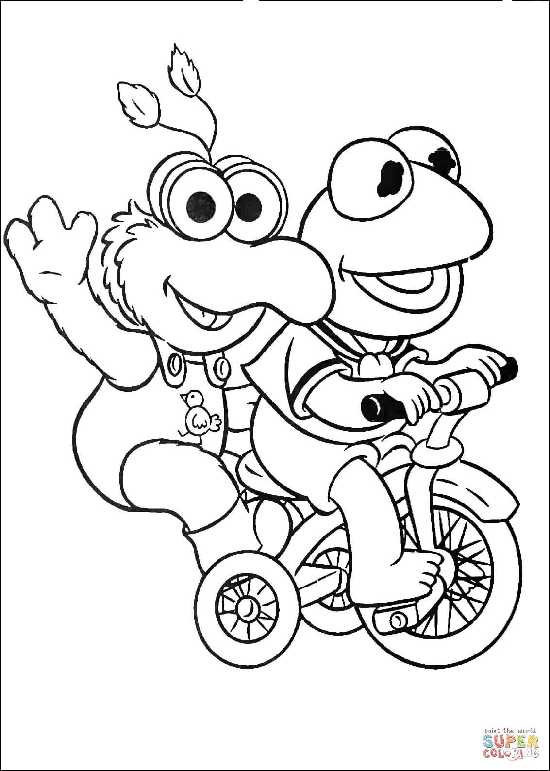 1133x1588 New Baby Kermit And Gonzo Are Riding A Tricycle Coloring Page