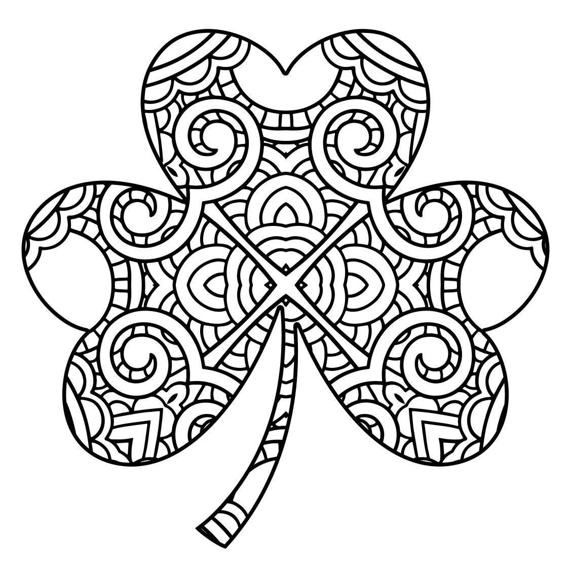 1125x1125 Awesome Shamrock Coloring Draw To Color For Trinity Page Popular