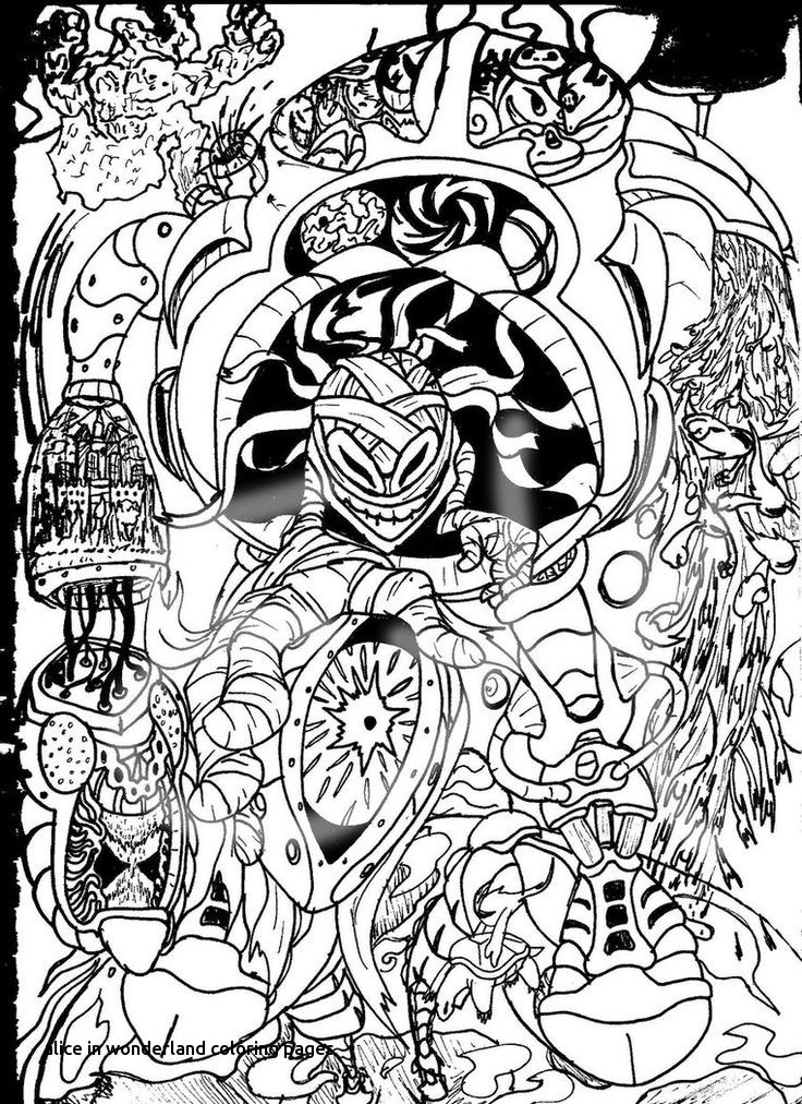 Trippy Alice In Wonderland Coloring Pages At GetDrawings Free Download