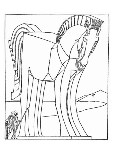 399x535 Coloring Pages Of Trojan Horse Trojan Horse Coloring Page Trojan