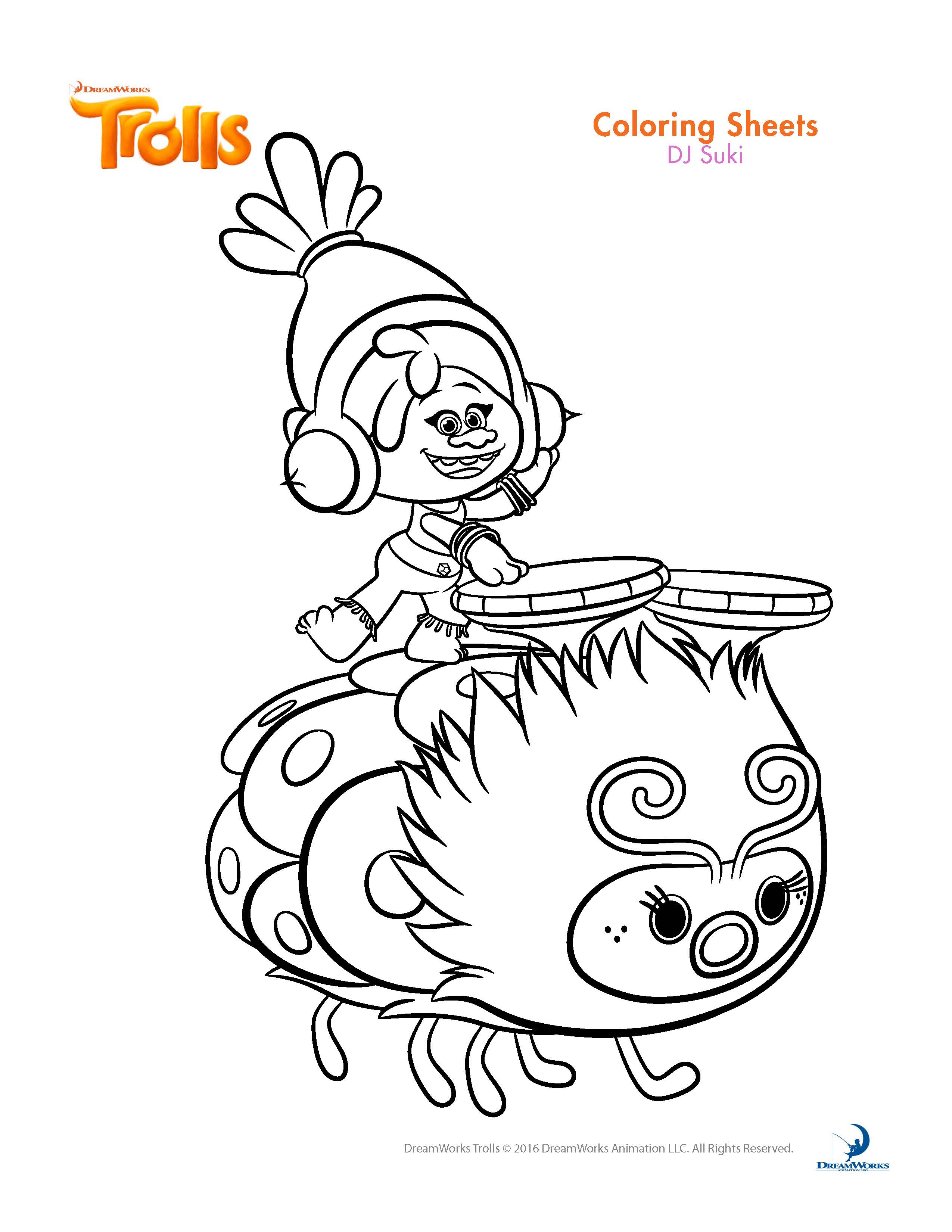2550x3300 Trolls Movie Coloring Pages