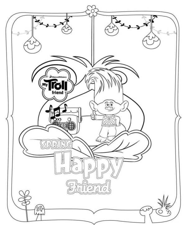 592x725 Trolls Movie Coloring Pages