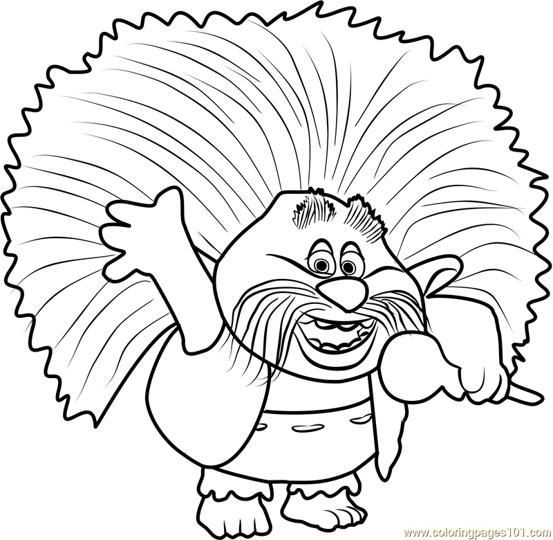 800x780 King Peppy From Trolls Coloring Page
