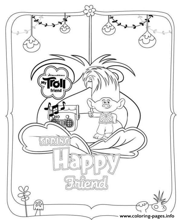 592x725 Trolls Movie Spring Happy Friend Coloring Pages Printable