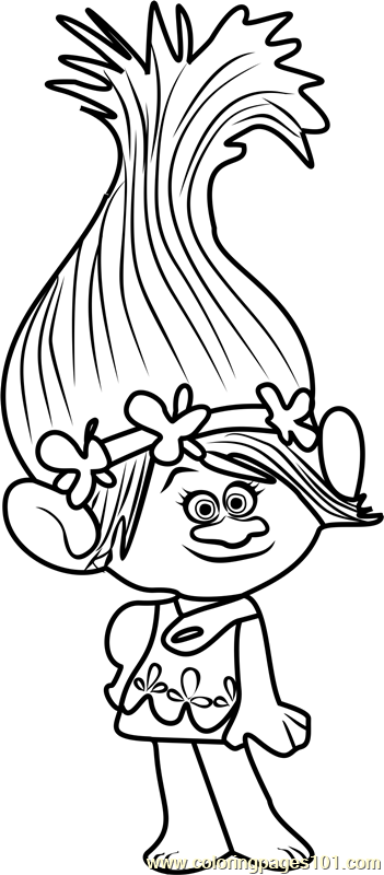 351x800 Princess Poppy From Trolls Coloring Page Coloring Pages