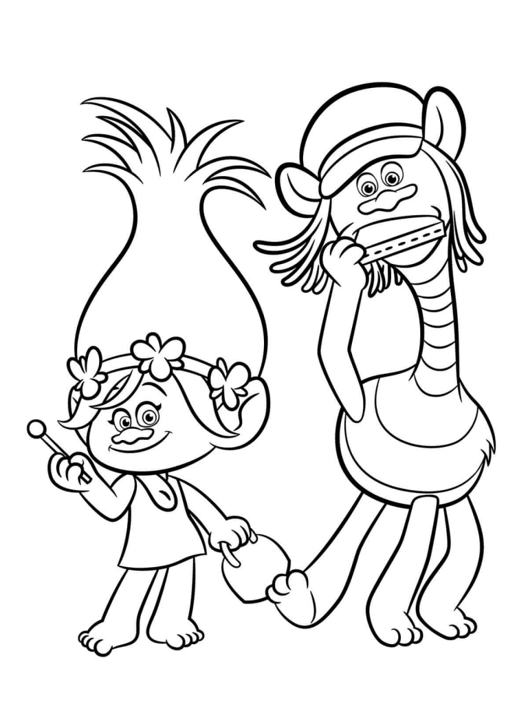 768x1024 Printable Trolls Movie Coloring Pages