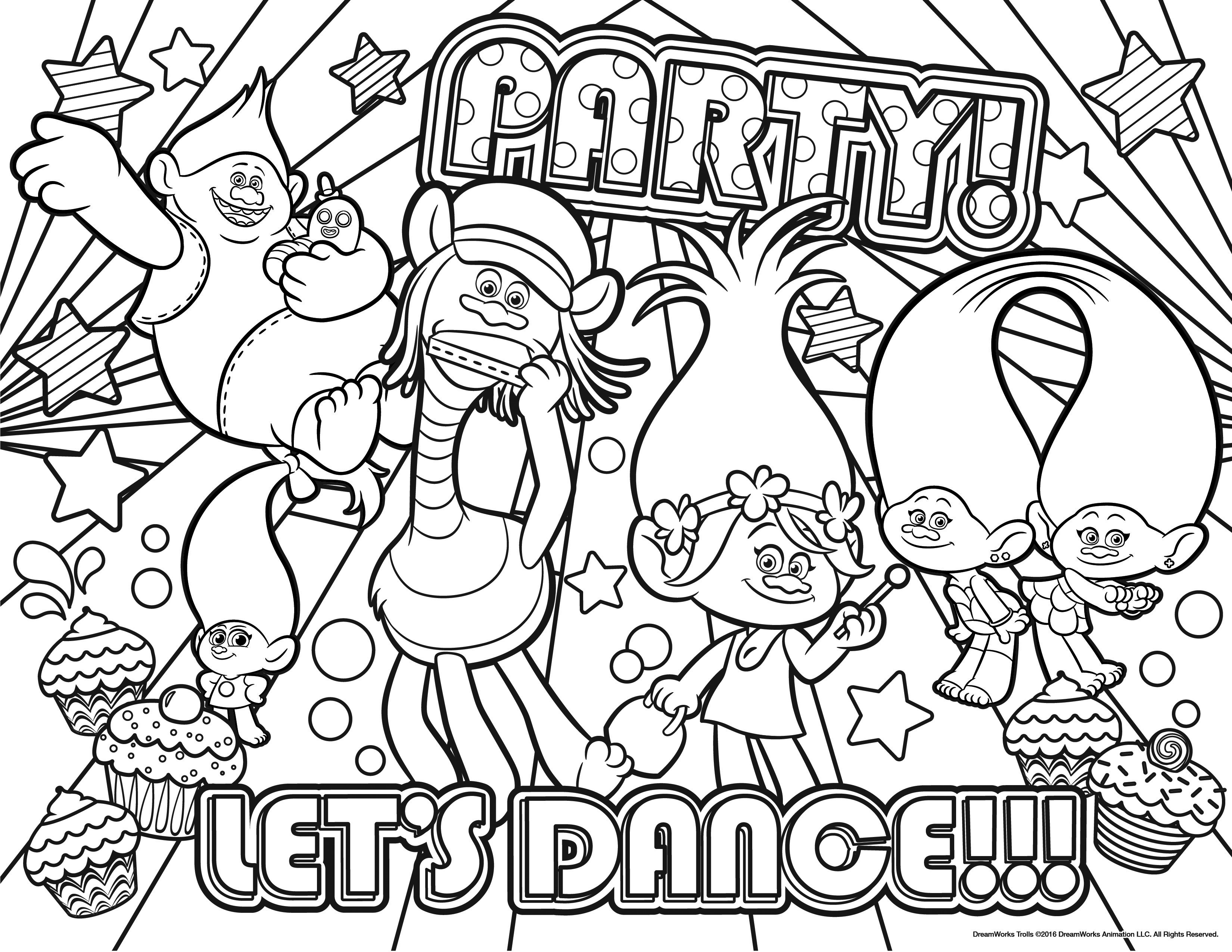 3300x2550 Trolls Party Coloring Page