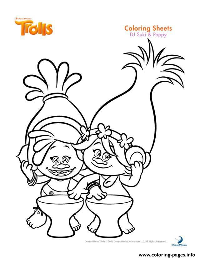 Trolls Printable Coloring Pages At Getdrawings Com Free