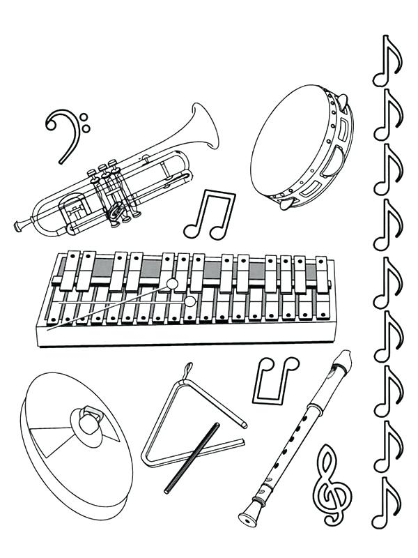 600x800 Musical Instruments Coloring Pages Trombone Coloring Page Musical