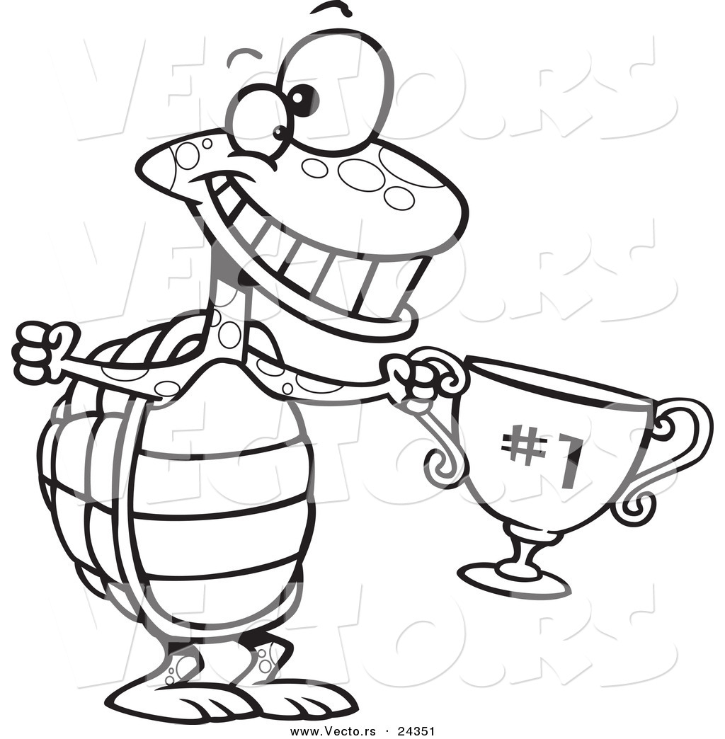 1024x1044 Vector Of A Cartoon Tortoise Champ With A Trophy