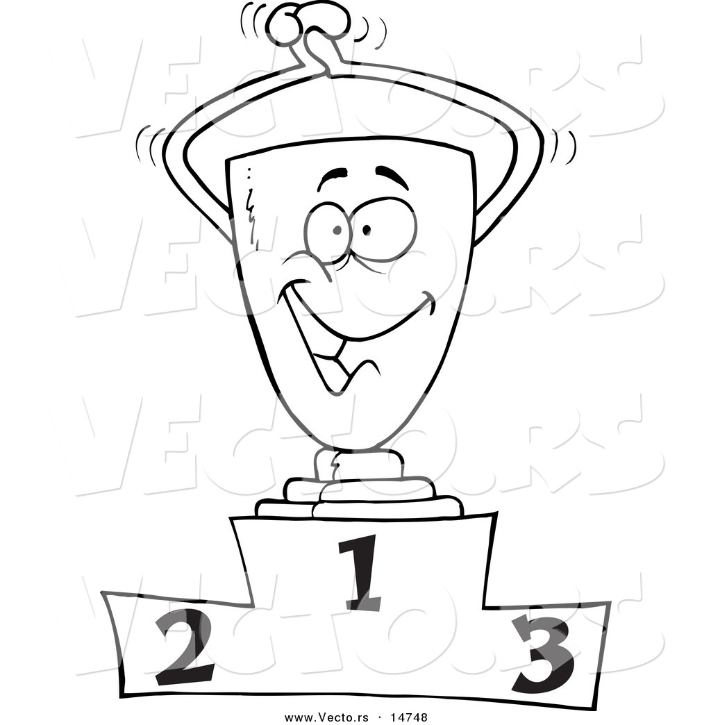 1024x1044 Vector Of A Cartoon Trophy On The First Place Podium