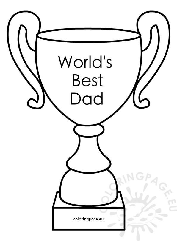 595x808 World's Best Dad Award Trophy Coloring Page