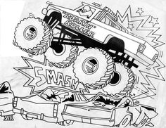 236x182 Give This Monster Truck Scene Some Color With This Printable