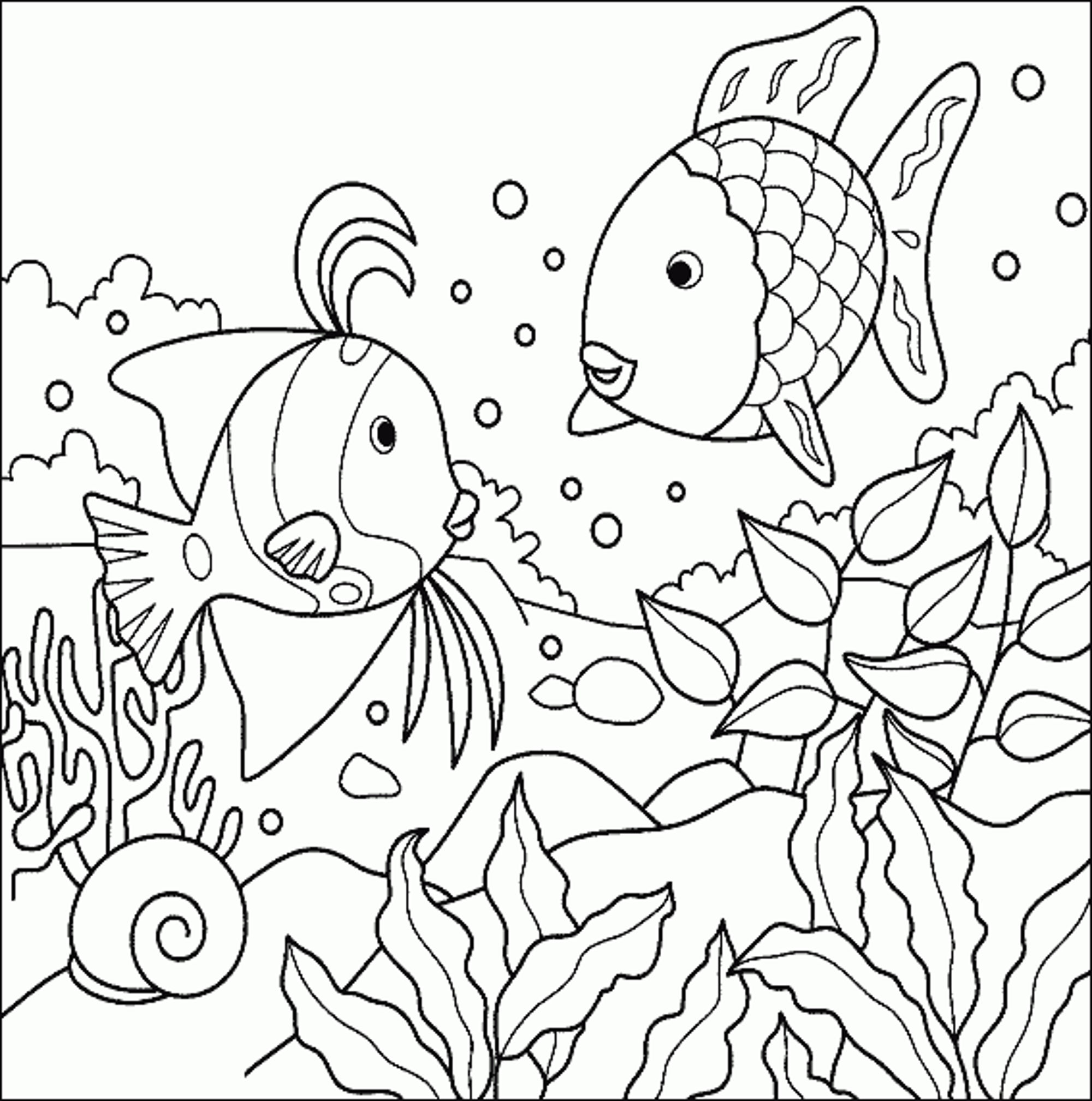 2000x2018 Tropical Fish Coloring Page