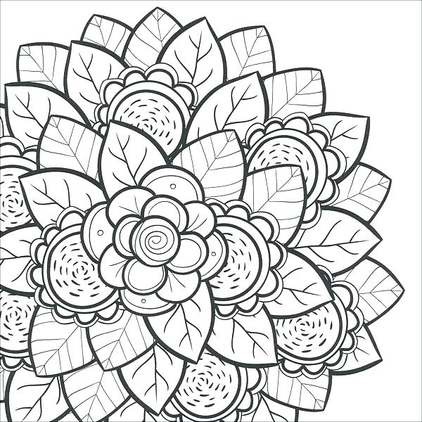 600x600 Flowers Coloring Pages Printable Free Printable Coloring Pages