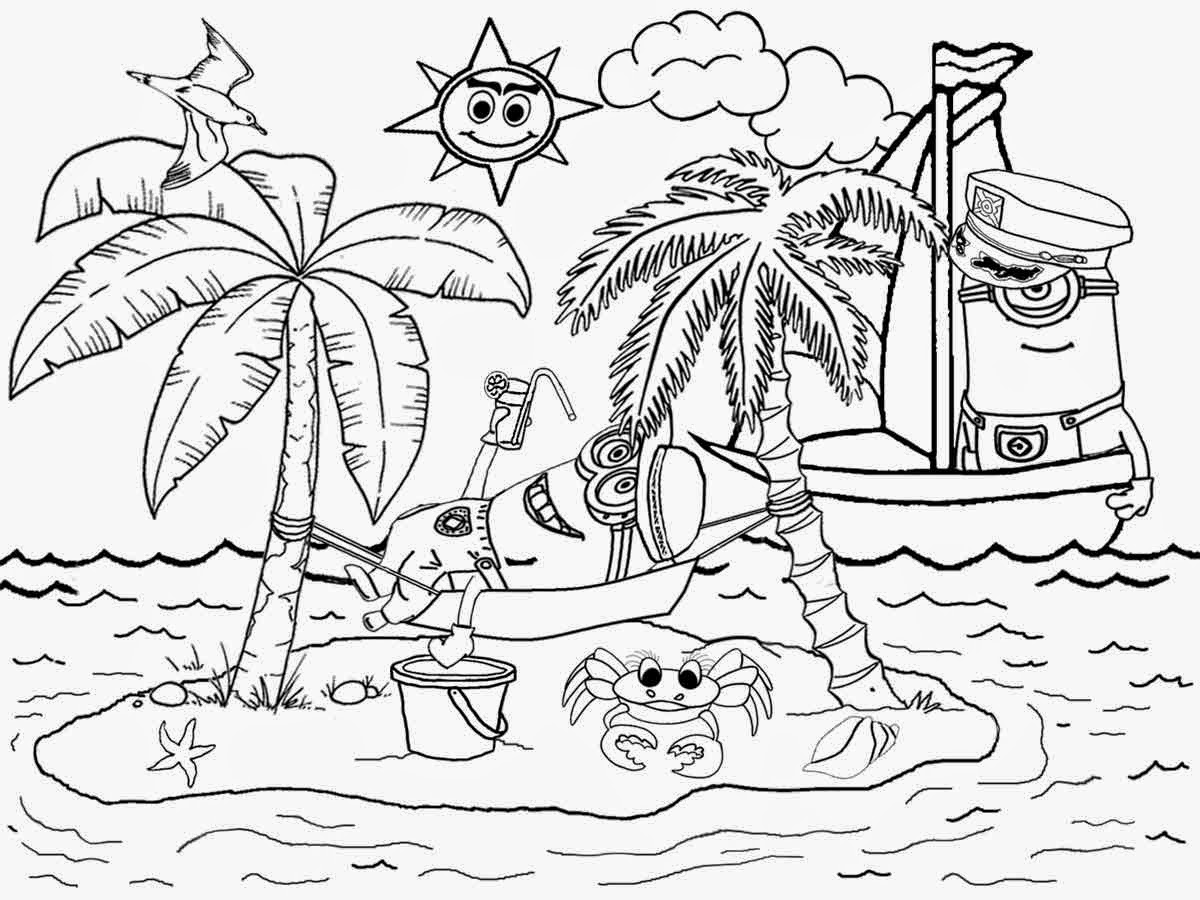 1200x900 Neoteric Ideas Beach Coloring Pages To Print Printable For Kids