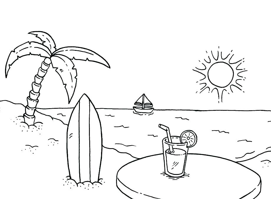 920x677 Coloring Pages For Kids Pdf Beach Book Also Doodles Page A Scenic
