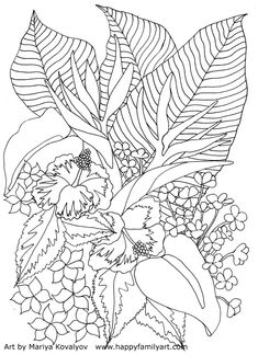 235x324 Tropical Flowers Stained Glass Coloring Book Coloring Pages